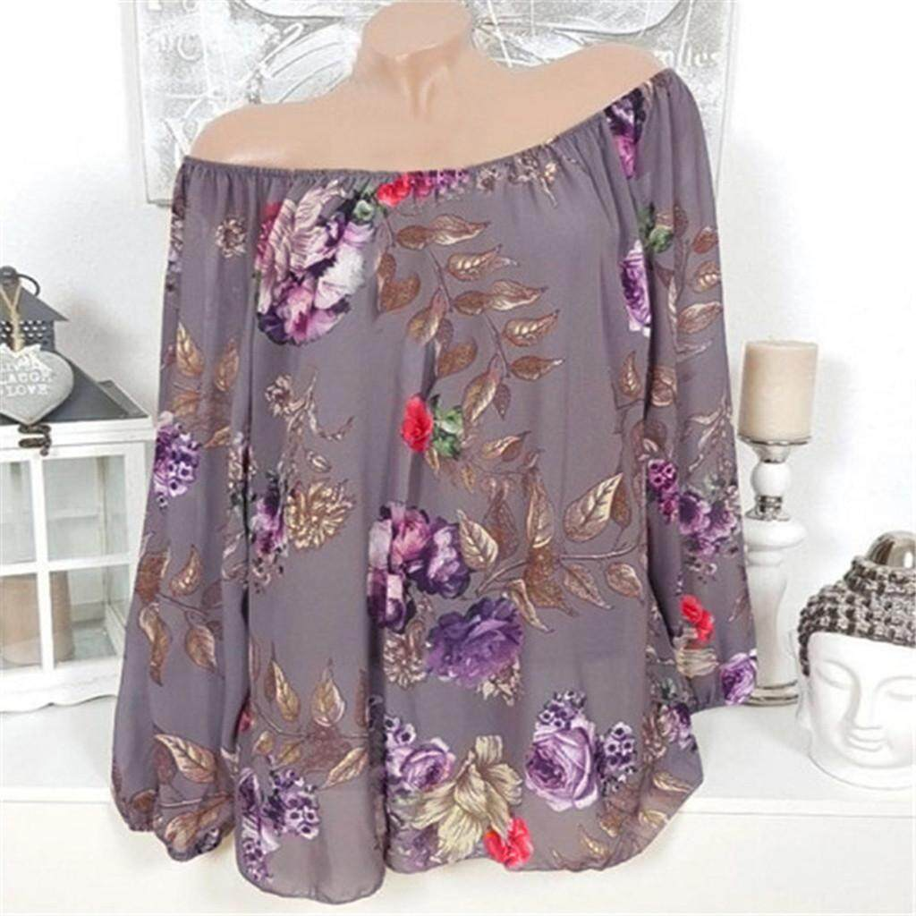 Ukuran Ukuran Besar Musim Panas Blus Wanita Fashion Kasual Lengan Panjang Cetak Ukuran Satu Bahu Top Blus T baju Kaos Kemeja Tshirts Atasan untuk Wanita