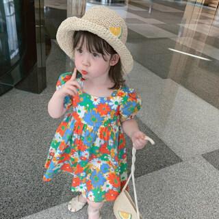 Cô Gái Váy Hoa Đầy Màu Sắc T-váy Đáng Yêu Daisy Ngắn Tay Áo Mùa Hè Trẻ Em Quần Áo Trẻ Em Ăn Mặc thumbnail