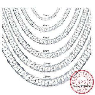 Men s 925 Sterling Silver Italian Cuban Curb Chain Necklaces for Men Women Solid Silver Figaro Chain Layering Necklace SC289 thumbnail