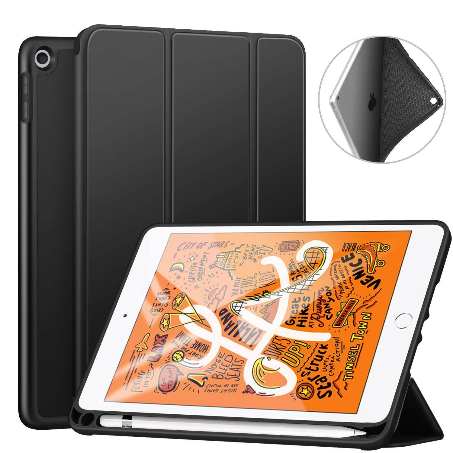 Case For Ipad Mini 5th Gen 2019 With Pencil Holder, Lightweight Soft Tpu Back And Trifold Stand Smart Cover With Auto Sleep/wake,protective For Ipad Mini 5 7.9 2019 Release By Zhuyuli Co Ltd.