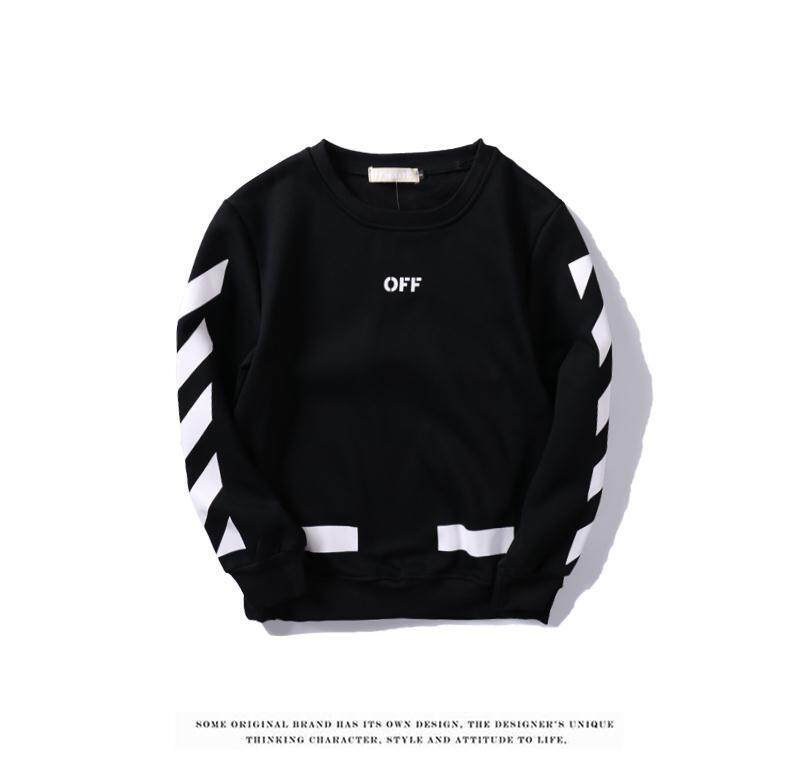 Unisex OFF WHITE round neck pullover long-sleeved jacket arrow Stripes sweater
