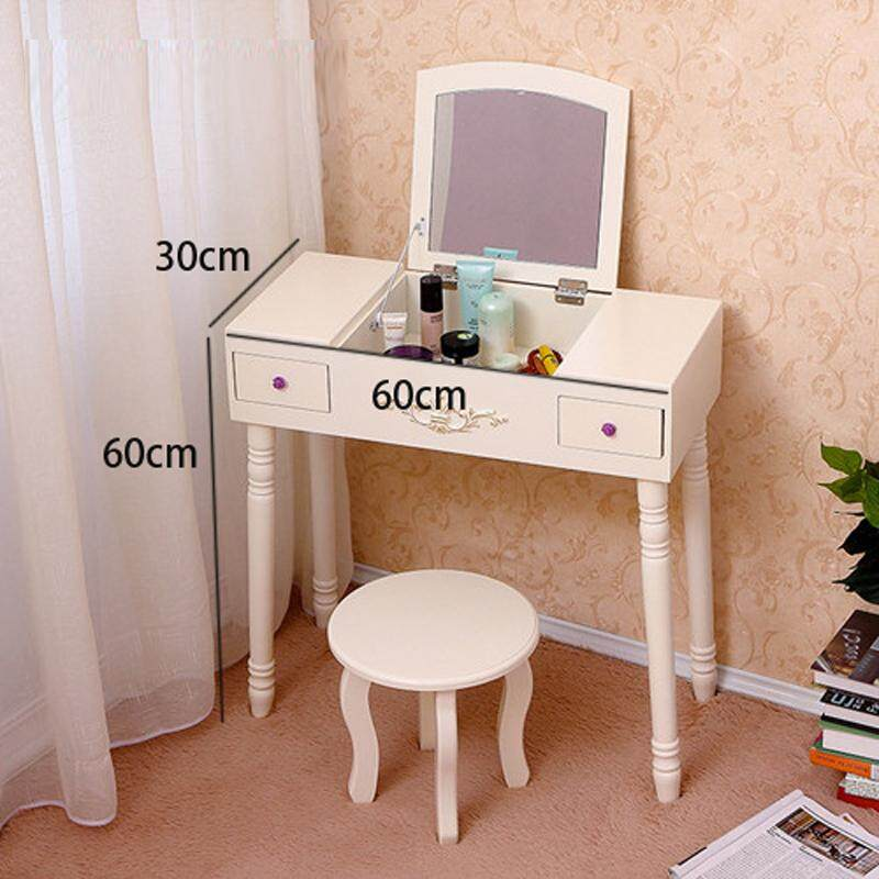 Vanity Table Set with Foldable Mirror, With Stool, 2 Drawer, Organizers Makeup Dressing Table, Easy Assembly, Gift for Mom