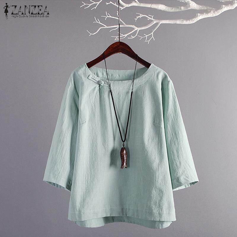 9131eb576f2014 ZANZEA Women Long Sleeve Casual Plain Shirt Tops Round Neck Loose Blouse  Shirt Tops