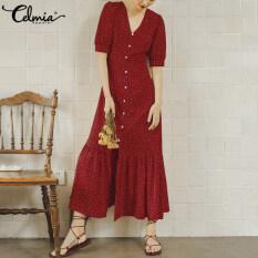 Celmia Đầm Mini Chấm Bi Mùa Hè Cho Nữ Váy Áo Maxi Dài Cổ Chữ V Kích Thước