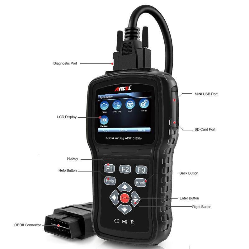 ANCEL AD610 Elite Automotive OBD II Car Code Reader Engine Diagnostic Scan Tool ABS SAS SRS Crash Data Reset Scanner