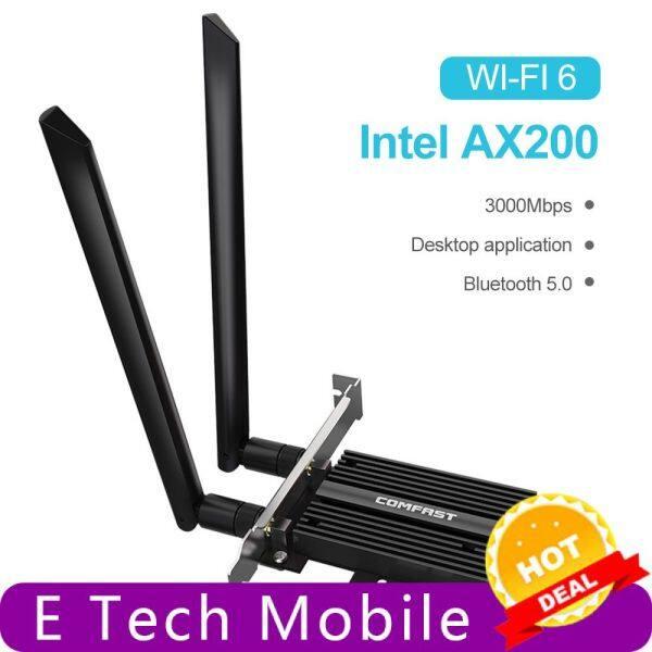 Giá Điện thoại di động công nghệ điện tử 【mới】 【trên sale】 3000Mbps Băng tần kép PCIe Máy tính để bàn không dây Cho thẻ Intel ax200 Pro Bộ chuyển đổi 802.11ax 2.4G/5GHz Bluetooth 5.0 PCI Express Wifi 6