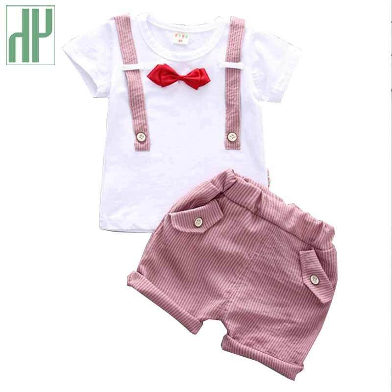 0ee742a71f8a Toddler Boy Clothes Bow Gentleman Summer Set For Boy Casual Kids Short T  Shirt + Pants
