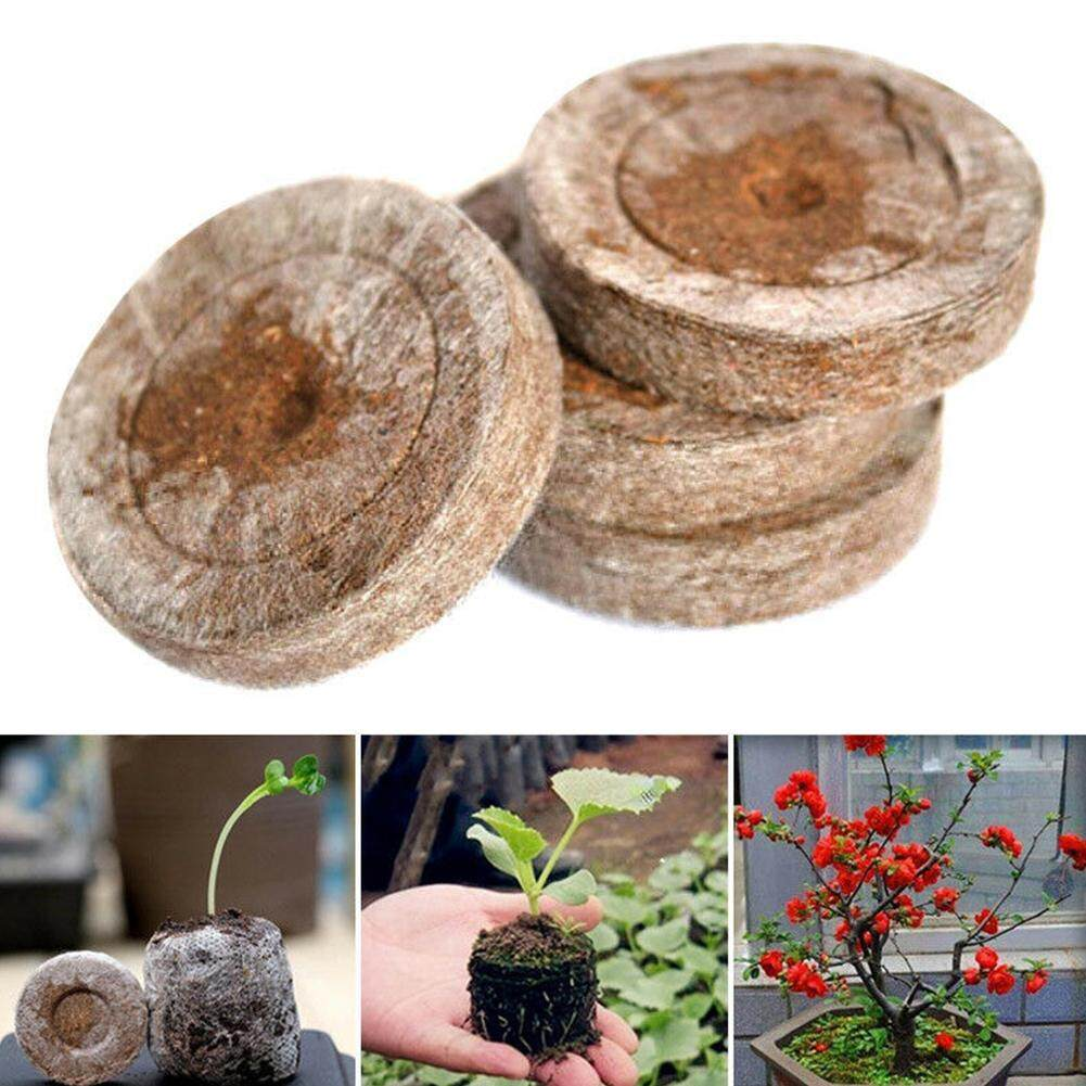 100pcs 30mm Seed Soil Block Peat Pellets Environmental Home Nursery Plugs Jiffy Starter Starting Seedling Professional Transplanting Garden Plant