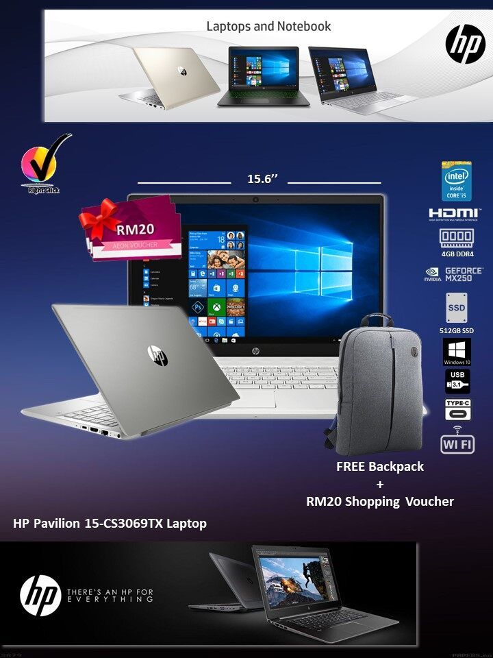 HP Pavilion Laptop 15-CS3069TX Intel Core I5-1035G1/4GB/512GB SSD/MX250 2GB/HD 15.6 /W10/2YRS/Silver (8RR46PA) * FREE RM20 Shopping Voucher Malaysia