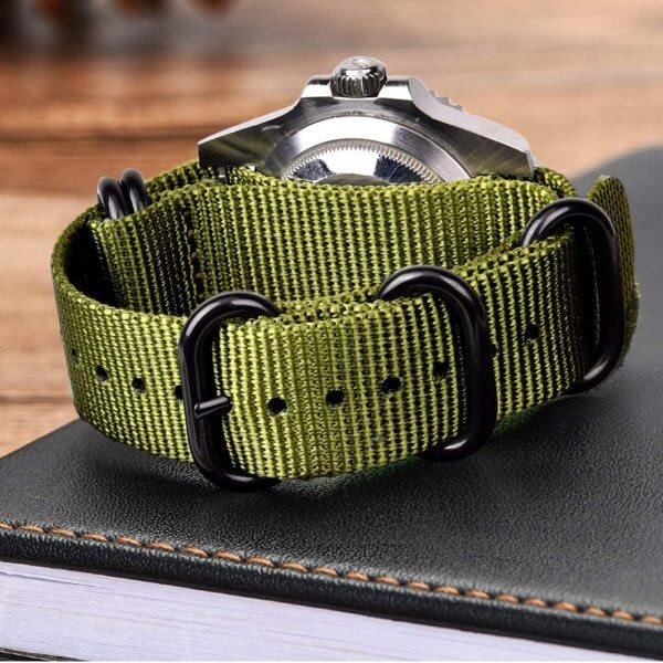 LANGLEY 18mm 20mm 22mm 24mm Nato Strap Watch Band with Black Heavy Buckle Watch Band General Use Watch Strap Wholesale Woven Nylon Band Malaysia