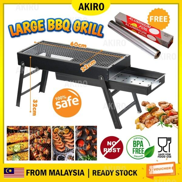 AKIRO HOME Malaysia Premium Alloy Steel Large 60cm BBQ Grill Folding Charcoal Camping Picnic Beach Barbeque Pemanggang FREE Foil Paper