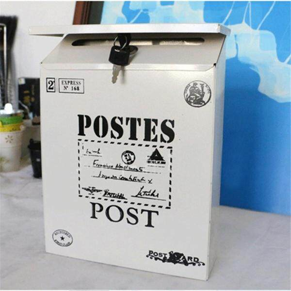 Colorful Vintage Iron Mail Letter Newspaper Cast Box Home House Post Decoration#White - White (white)