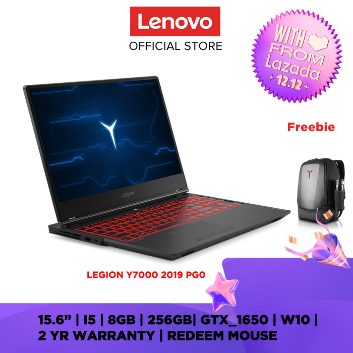 LENOVO  GAMING LAPTOP NOTEBOOK LEGION Y7000 2019 PG0 81T0001HMJ Raven Black 15.6 INCH  I5-9300H 8GB 256GB SSD GTX1650 4GB W10 HOME 2YRS PRMCARE+1YRADP) MS OFFICE HOME & STUDENT PREINSALLED FREE BACKPACK Online redemption LEGION MOUSE + KEYBOARD Malaysia