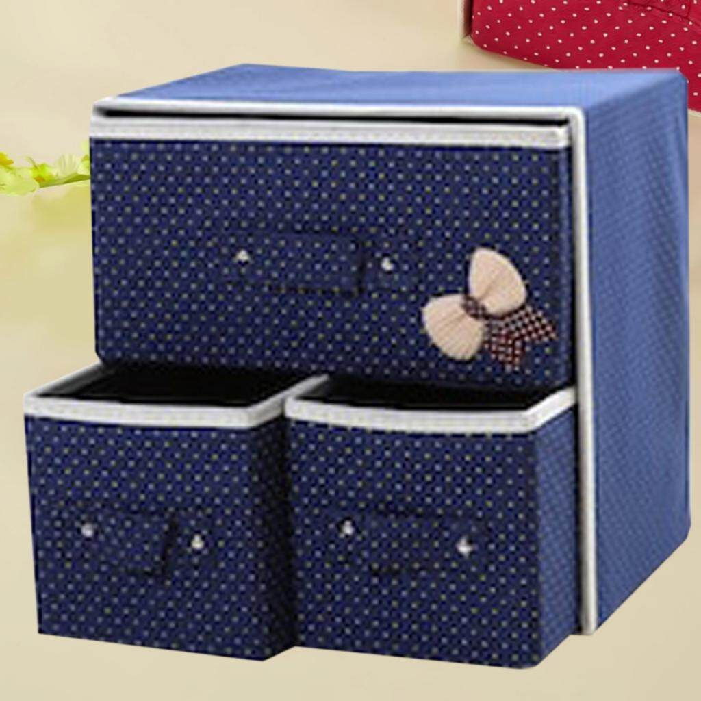 Fityle Dark Blue Non-Woven Foldable Storage Bins Box Containers for Home Office
