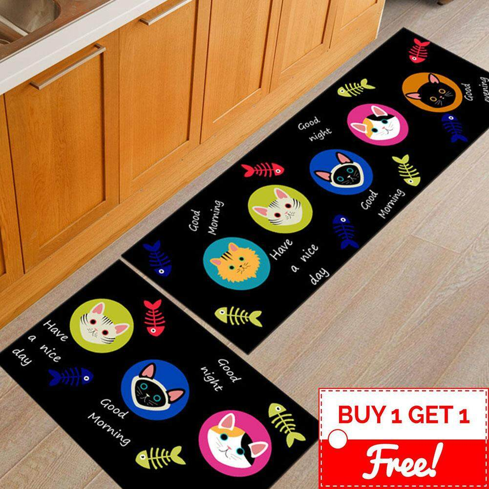 Classic Design Antislip Carpet (120cm x 40cm) Free (60 x 40cm) Soft Flannel Carpet Rug Floor Mat Kitchen Dapur and Bathroom
