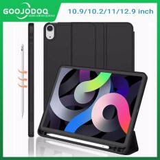 GOOJODOQ 2020 New iPad Trường Hợp Silicone Leather Bìa Tự Động Lật Cho iPad Air 4 10.9 Inch Với Bút Chì Chủ