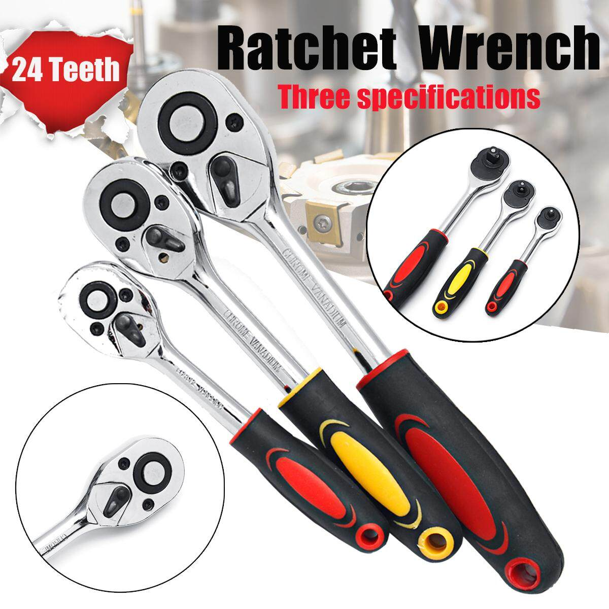 24 Teeth Electric Ratchet Wrench Straight Shank Double Way Torque Socket Tools