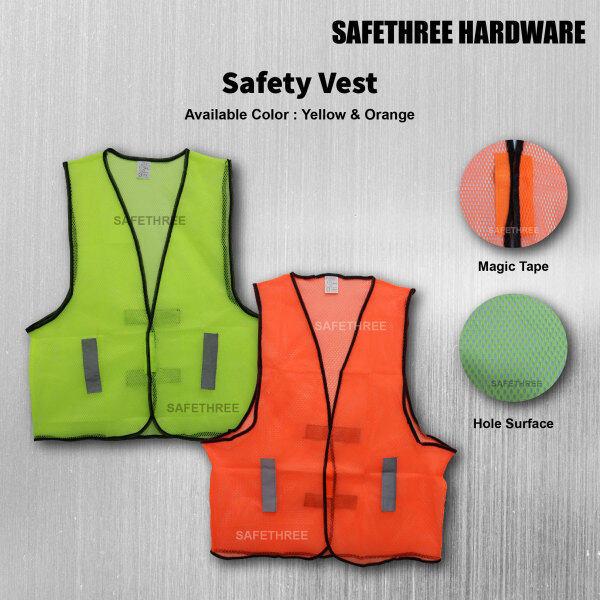 Yellow & Orange Safety Vest With Reflective Line – Holes & Magic Tape (Unisex Man Women)