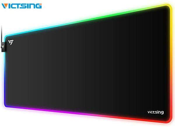 VicTsing PC247 RGB Gaming Mouse Pad 12 Lighting Modes Soft Oversized Large Extended LED Mouse Pad Waterproof Keyboard Mouse Mat for Gamer 800 x 400mm
