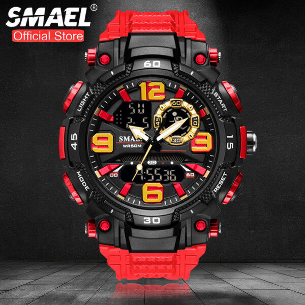 SMAEL Top Brand Luxury Fashion Mens Sport Watches Military LED Dual Display Outdoor Stopwatch Waterproof Casual Wrist Watch Malaysia