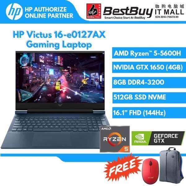 HP Victus 16-e0127AX / 16-e0122AX Laptop (Ryzen 5-5600H/8GB DDR4 1DM 3200/512GB PCIe/NVIDIA GeForce RTX 3050 4GB/ NVIDIA GeForce GTX1650 4GB /Performance Blue/16.1 FHD Antiglare IPS 250 nits 144Hz Narrow Border flat/2 year warranty) Malaysia