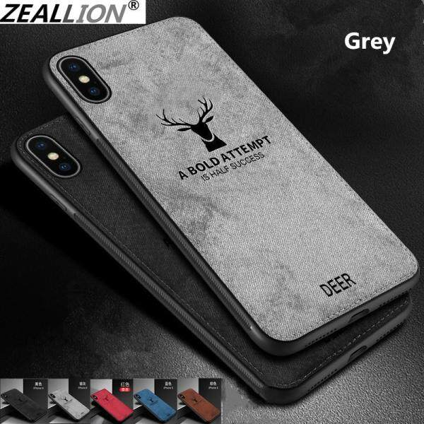 Zeallion Cho [Apple iPhone 6 6S 7 8 Plus X Xs 11 12 Pro Max Mini] Vải Siêu Mỏng Ốp Lưng Vải Bố Dệt Hình Nai Sừng Tấm Mềm Hình Hươu Giáng Sinh Dập Nổi Cổ Điển Ốp Lưng