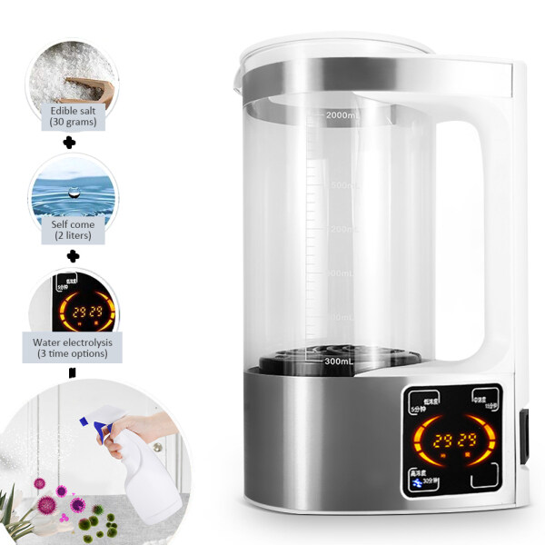 Ouken 2000ml Physiological Saline Self-Made Machine Homemade Cleaner Equipment Electrolytic Salt Water Maker