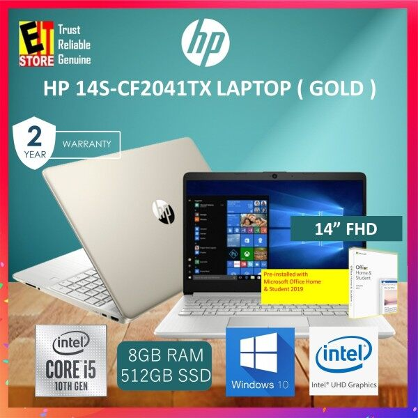 HP 14S-CF2041TX LAPTOP -GOLD (I5-10210U/8GB/512GB SSD/14 FHD/INTEL UHD GRAPHICS/W10/2YRS)+ MS.OFFICE 2019 H&S Malaysia