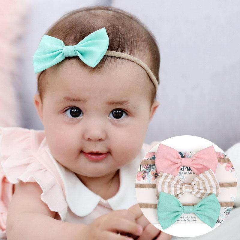 1cd449ba3 3Pcs/Set Colorful Newborn Baby Bows Headband Elastic Kids Toddlers Hair Band