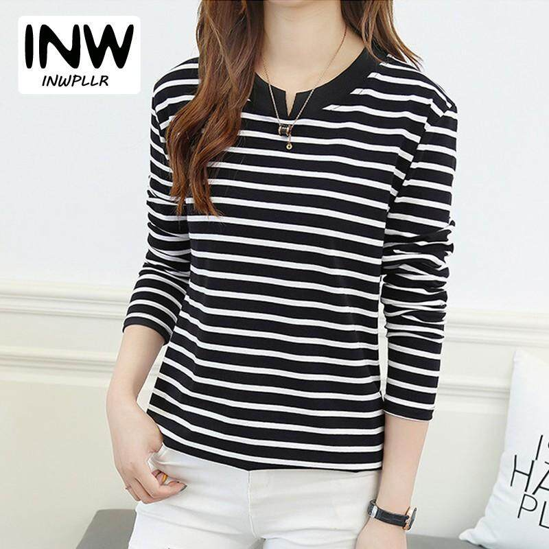 c15ea723 INWPLLR New Korean-style T Shirt Women Tops Tees Autumn Striped T-Shirts  Fashion