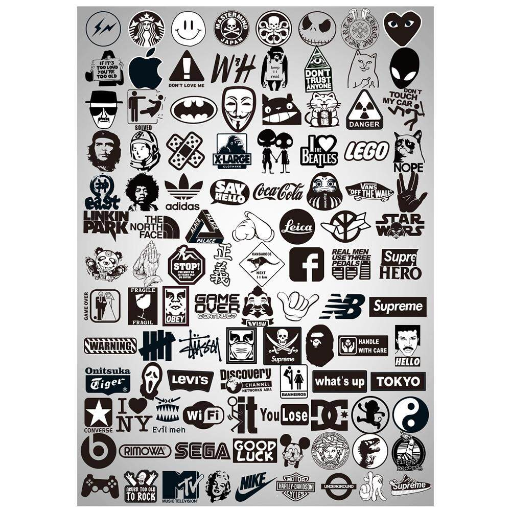 Black White Transparent Stickers Mixture Sticker Decals Packs for Water  Bottle Laptop Cellphone Skateboard Bicycle Motorcycle Car Bumper Luggage