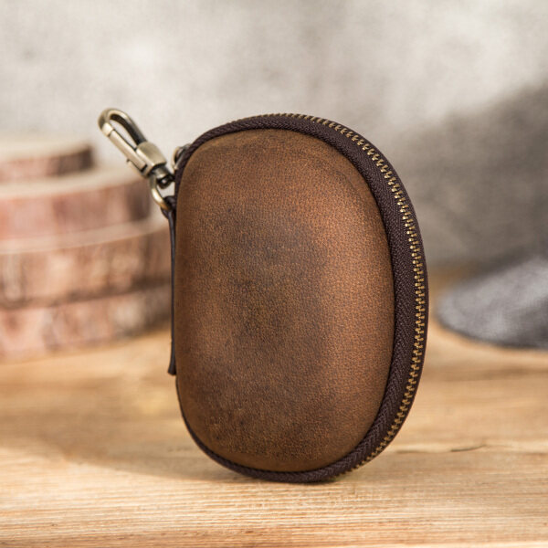 Giá bán Liên Hệ Gia Đình Retro Cow Leather Protable Folding Sunglasses Protector Travel Pack Pouch Kính Trường Hợp Dây Kéo Hộp Cứng Eyewear