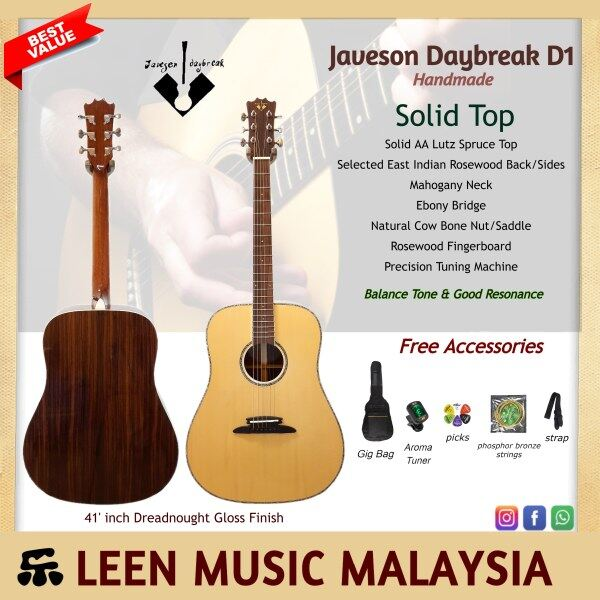 Javeson Daybreak Handmade Solid AA grade Lutz Spruce Top - Selected East Indian Rosewood Back and Side Great Balance Tone Guarantee low Comfort strings action Affordable Value Free Accessories Malaysia