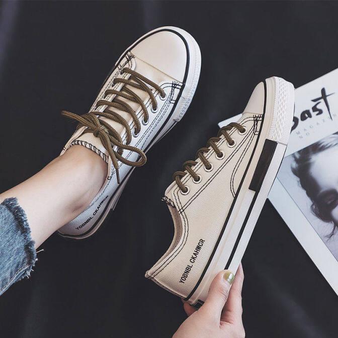 Giày Vải PWAE, Giày Thể Thao Nữ Hàn Quốc Màu Trắng Mới Giày Vải Ins, Nữ Màu Đen giá rẻ