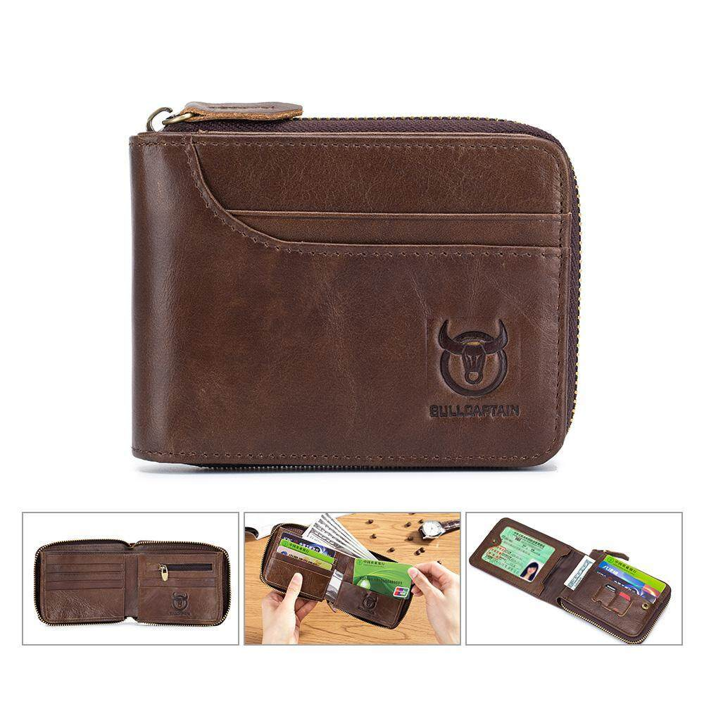 GoodGreat [Fast Delivery]Mens New Fashion Genuine Leather Premium Preventing RFID Zip Short Coin Purse Retro Folding Wallet Cowhide Leather Card Holder Pocket Purse Wallets