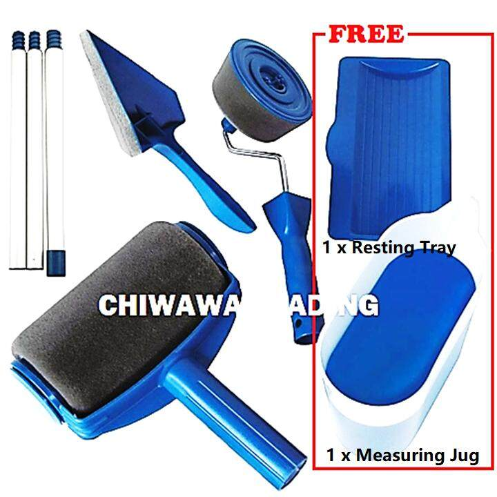 【Free Gift: 1 x Measuring Container; 1 x Resting Tray】DIY Paint Roller Clever Paintbrush Flocked Edger Corner Pad Pintar Facil Wall Painting Tool + Handle