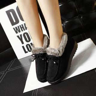 Phong Cách Bắc Kinh Cũ Giày Cotton Nữ Mùa Đông Giữ Ấm Mịn Hơn Dày Hơn Ngắn Đế Bằng Chống Trượt Boot Đi Tuyết Mẹ Dép Lông thumbnail