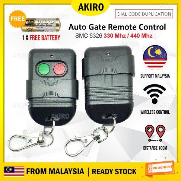 AKIRO Malaysia Autogate Door Remote Control Key Duplicator SMC5326 330Mhz 433Mhz DIP Switch Auto Gate Controller FREE Battery