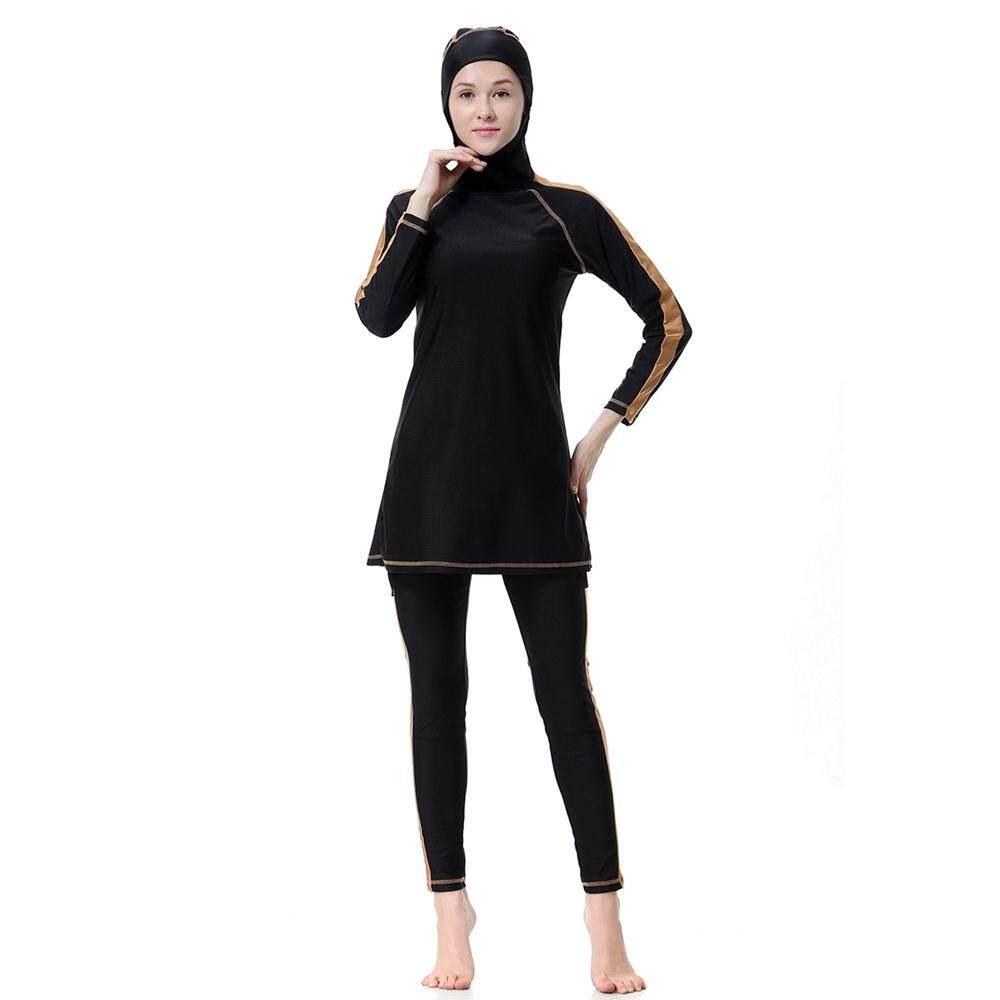 aa69defe62 Muslim Swimwear Hijab Muslimah Islamic Swimsuit Full Cover Burkini Fashion  Patchwork Beachwear Bathing Suit