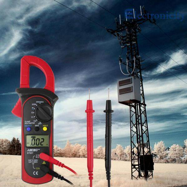 ST-201 Digital Auto Range Clamp Multimeter Tester Meter DMM AC DC Volt Ohm