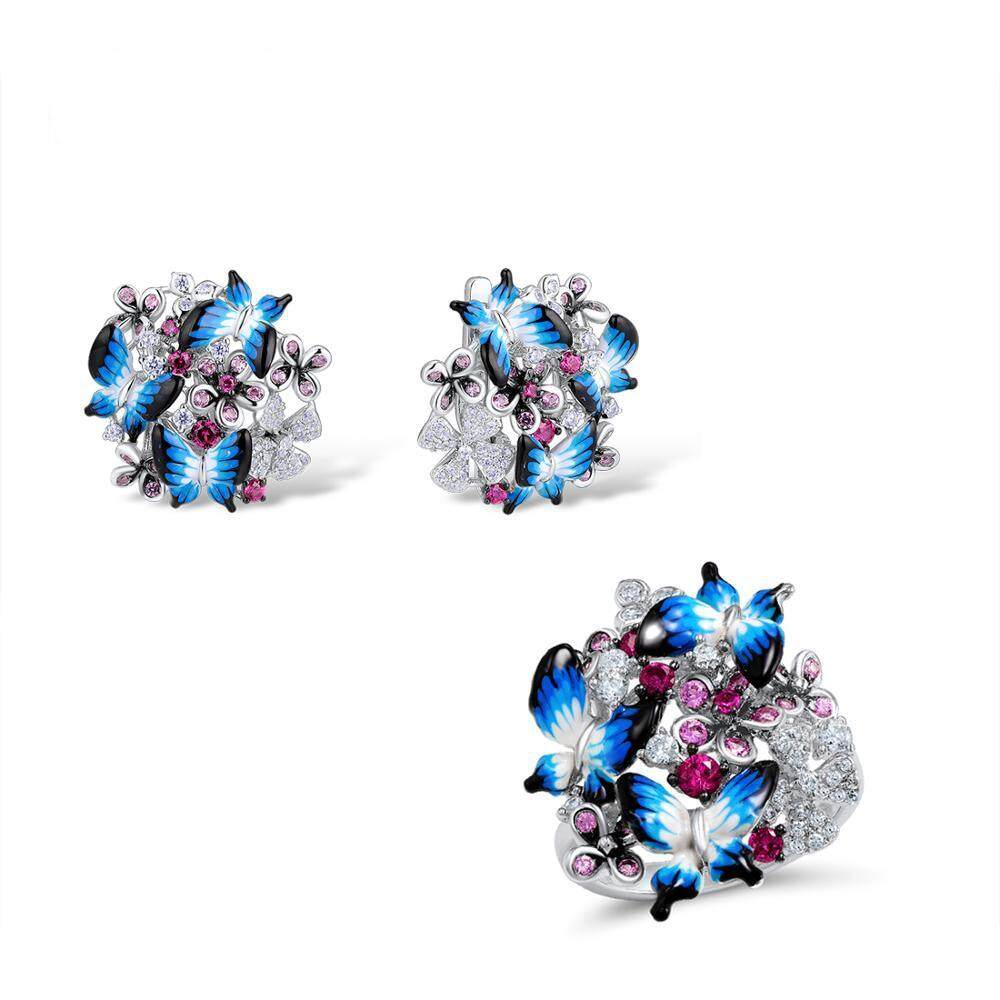 2pcs set Elegant Delicate Jewelry Set Butterflies S925 silver Ring Earrings Wedding engagement Jewelry Set