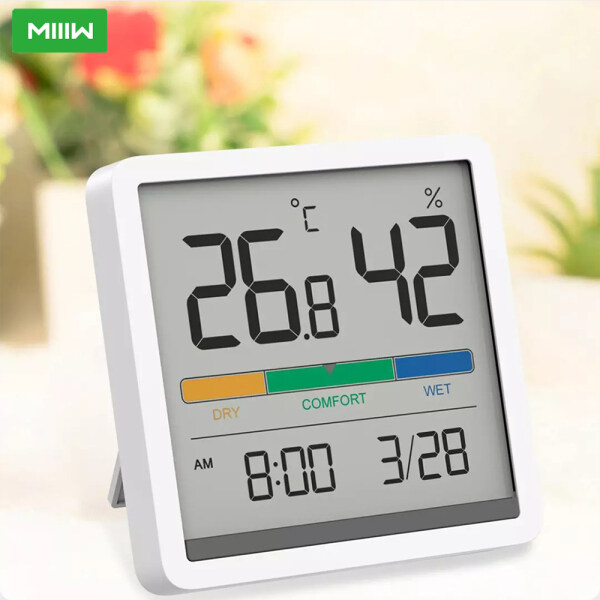 MIIIW Mute Temperature And Humidity Clock 5 Kinds Of Information Display C/F Temperature Monitor Long Battery Life 3.34inch Huge LCD HD Screen Temperature Humidity Household Gadgets 2 Ways Of Placing Apply to Office Home