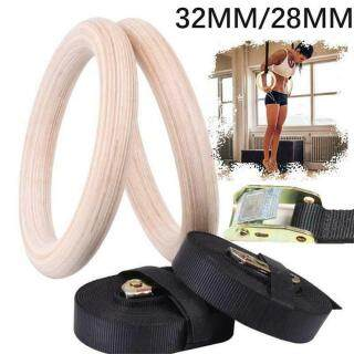 Engage Muscles Sport Exercise Home Gym Workout Training Strength Fitness Wooden Gymnastic Rings with Straps thumbnail