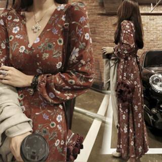 Đầm Voan Dài Tay Cho Nữ XS, Đầm Đi Biển Cổ Chữ V Ôm Sát thumbnail