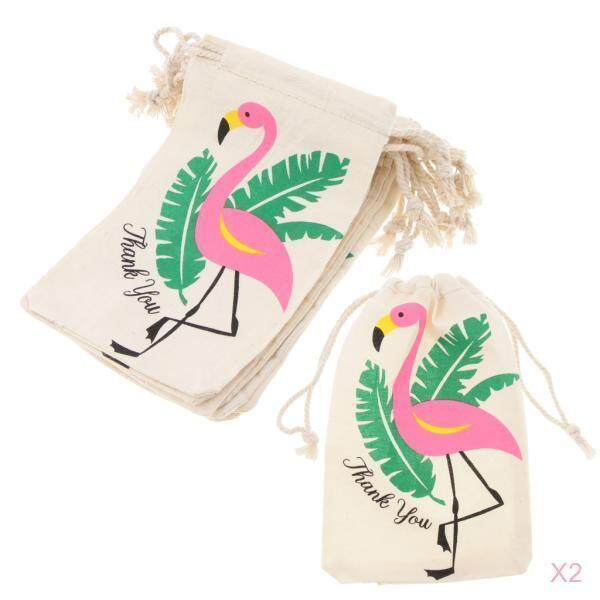 Loviver 20pcs Flamingo Thank you Cotton Linen Jewelry Gift Pouch Drawstring Bags