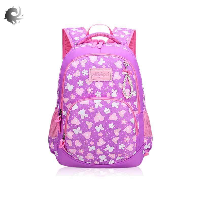 Primary school bag, new, boys and girls, grades 1-3-6, weight loss, backpack, 6-12 years old, floral princess bag, high quality nylon material (large size 41*30*16cm, small 41*28*14cm )