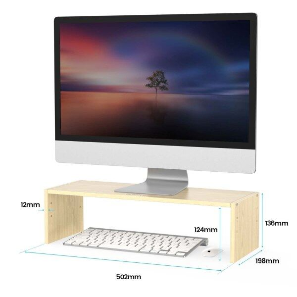 ORICO Wood Monitor Stand Riser Computer Desk TV Laptop Printer Stand Desktop Shelf for PC Notebook with Keyboard Mouse Storage