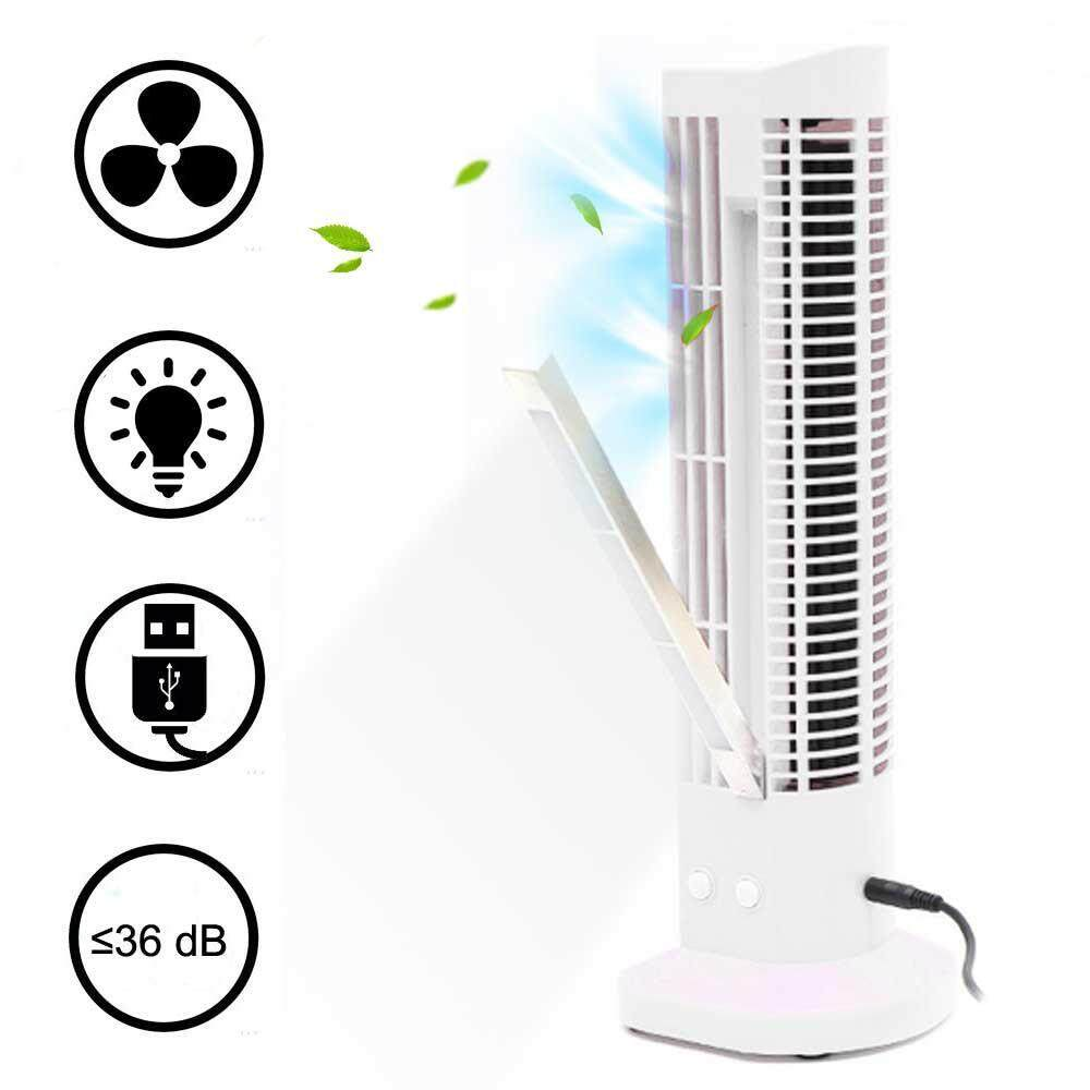 Aolvo Mini USB Tower Fan 2-Speed Portable Bladeless Cooling Air Conditioner Desk Desktop Table Cooler Fan for Personal Home Office