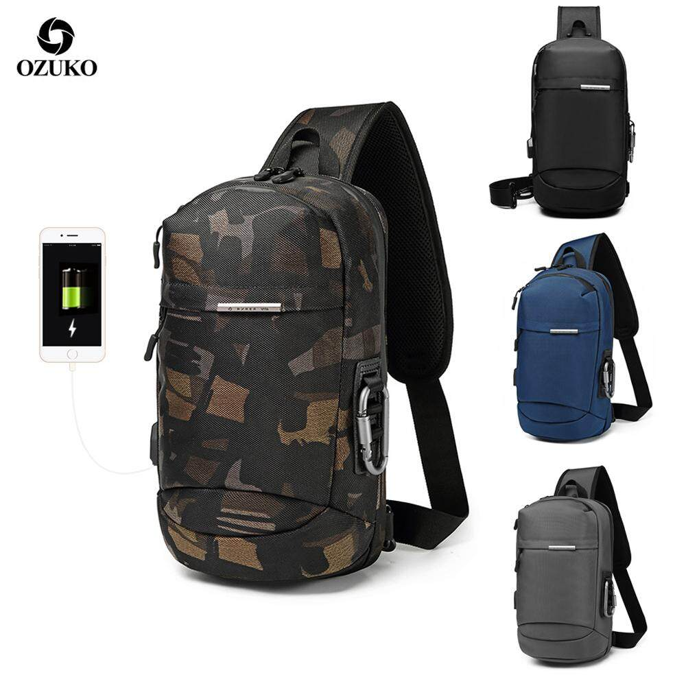 OZUKO Men USB Anti-theft Sling Bag Fashion Chest Pack Waterproof Charge Crossbody Bag