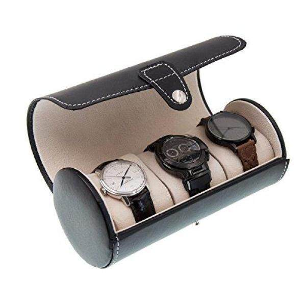 OURJOY Watch Storage Case 3 watch cases, cylindrical watch case, watch case, watch box, storage box, collection case, PU leather jewelry display, portable, compact and gift, black. Malaysia